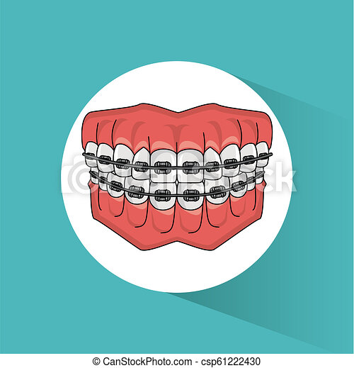 Dental Braces Cartoon Teeth With Dental Braces Round Icon Vector Illustration Graphic Design Canstock
