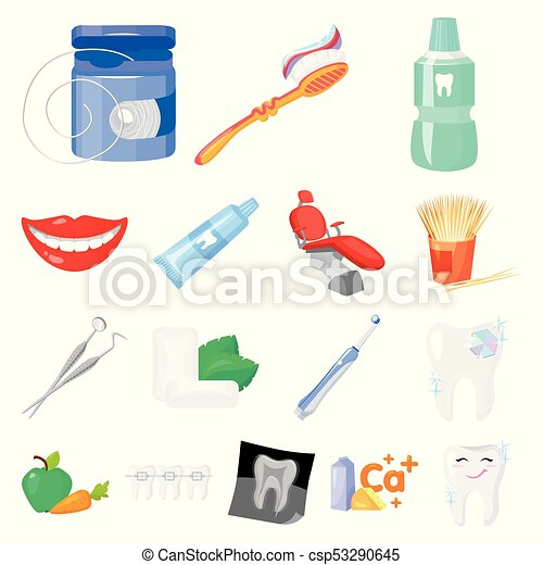 Dental Care Cartoon Icons In Set Collection For Design Care Of