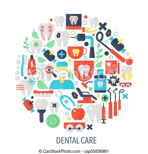 dental-care-flat-infographics-icons-in-e