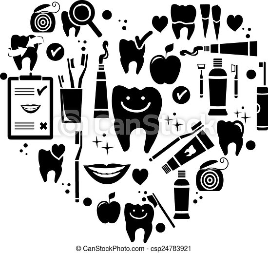 Dental care symbols in the shape of heart - csp24783921