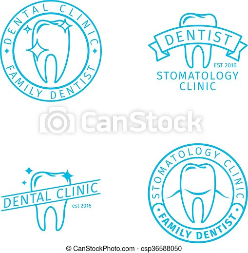 Dental clinic line logo templates - csp36588050