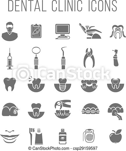 Dental clinic services flat silhouettes icons - csp29159597