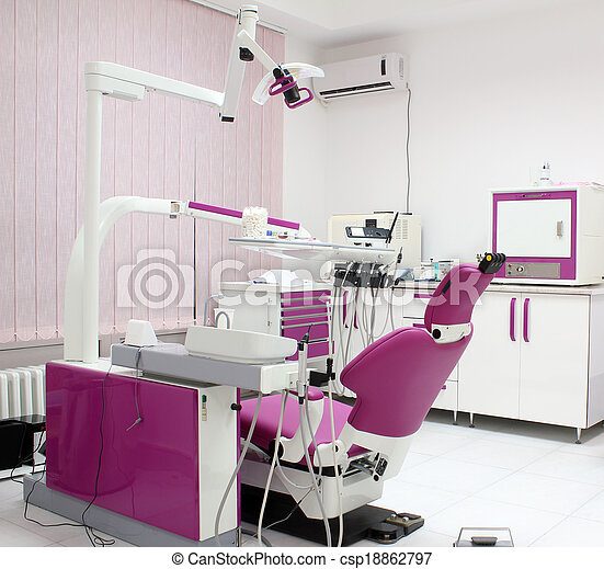 dental clinic with chair and equipment - csp18862797