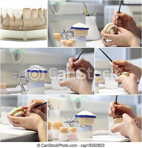 dental dentist objects collage - csp18350823