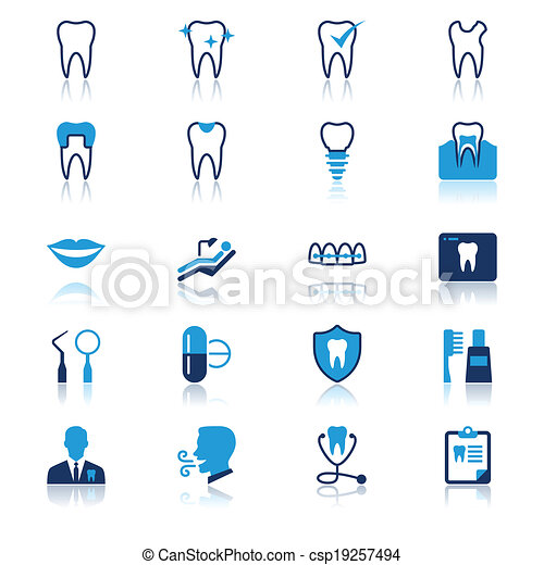 Dental flat with reflection icons - csp19257494
