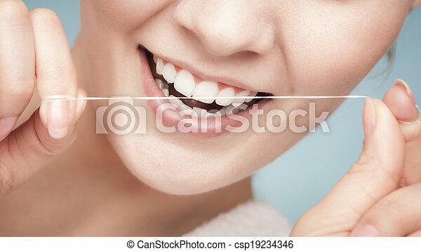 dental, floss., gesundheit, reinigende zähne, m�dchen, sorgfalt - csp19234346