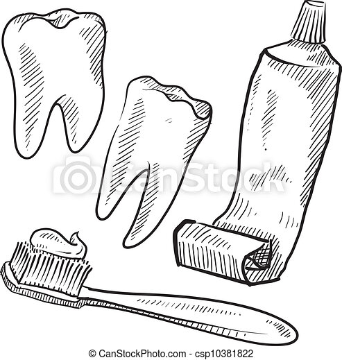 dental, gegenstände, hygiene, skizze - csp10381822