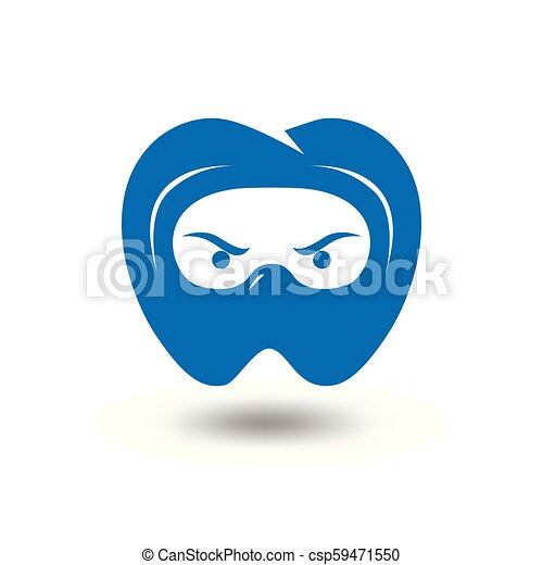 dental head ninja logo template tooth and ninja logo element