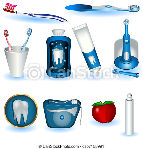 A Collection Of Ten Dental Hygiene Images Vector Clip Art