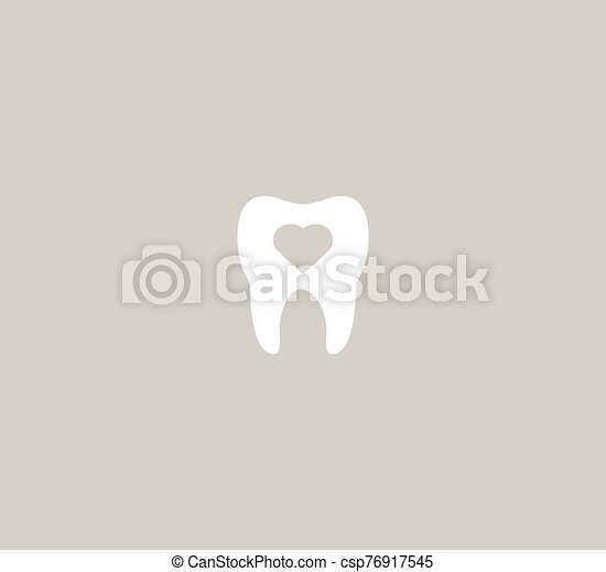 Dental icon vector template - tooth and heart on a gray background - csp76917545