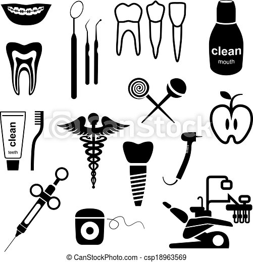 Dental icons black - csp18963569