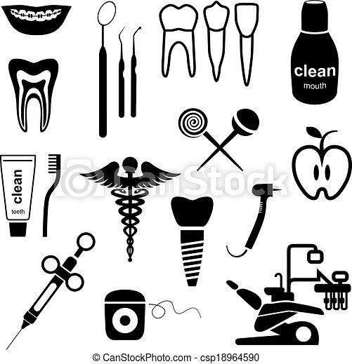 Dental icons black - csp18964590
