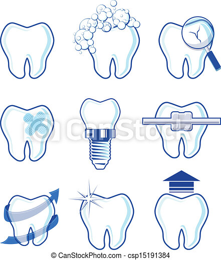 dental icons vector designs - csp15191384