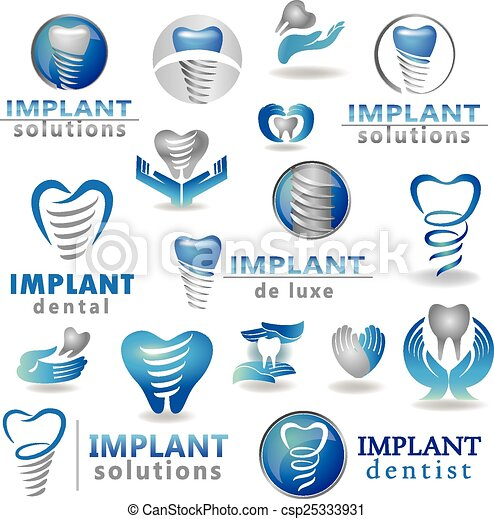 dental implants symbol collection clean and bright designs