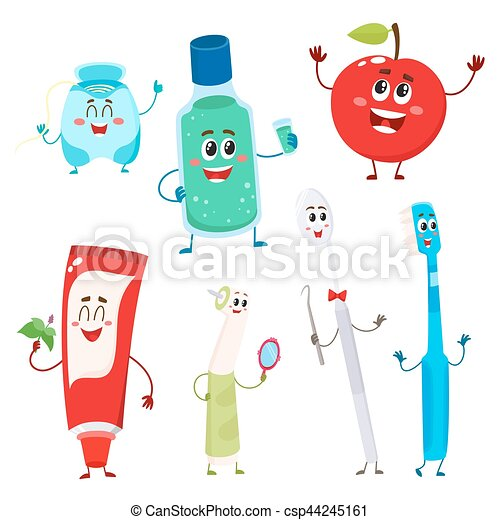 Dental instruments and teeth hygiene items as funny characters - csp44245161