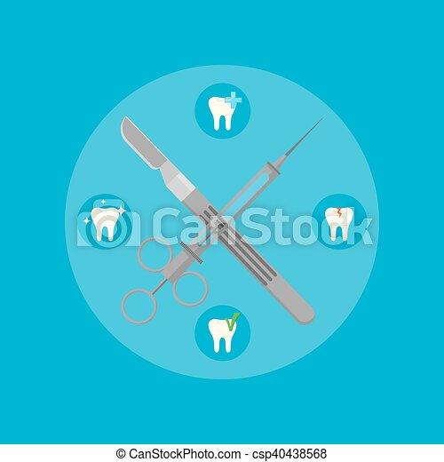 Dental instruments crosswise on color background - csp40438568