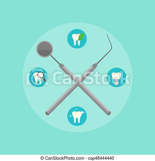 Dental instruments crosswise on color background - csp48444440