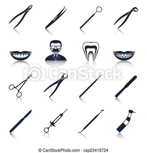 Dental instruments icons set black