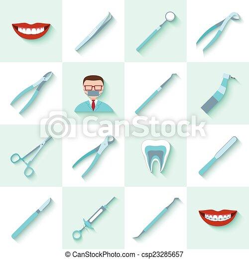 Dental instruments icons set - csp23285657
