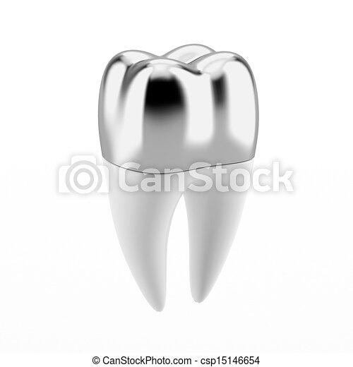 Silberne Zahnkrone - csp15146654