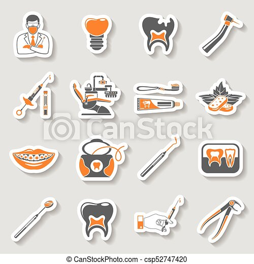 Dental Services Sticker Two Color Icons Set Vector