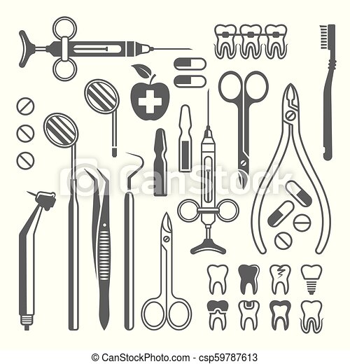 Dental tools, equipment set of black vector icons