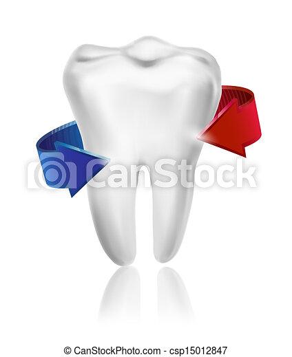 dente, circondato, concept., vector., cura, presa, beams., denti, bianco - csp15012847