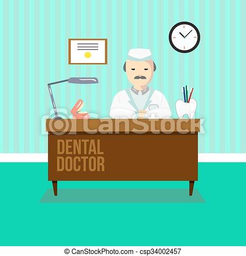 Dentist in dental clinic - csp34002457