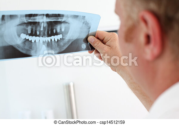 dentist looking at dental x-ray - csp14512159