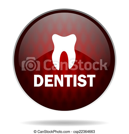 dentist red glossy web icon on white background - csp22364663