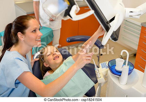 Dentist showing child dental procedure on monitor - csp18241504
