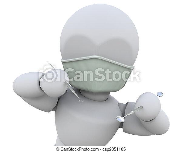 Dentist with dental instruments - csp2051105