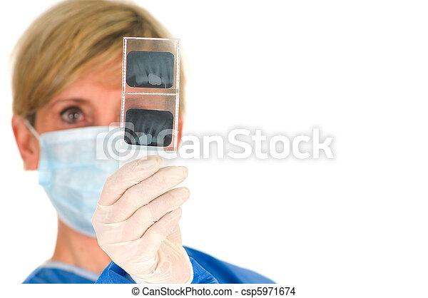 dentista, radiografía, dental, tenencia - csp5971674