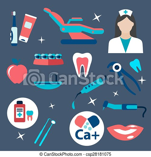 Dentistry and hygiene flat icons - csp28181075