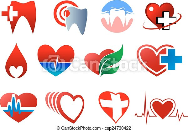Dentistry, cardiology and blood donation symbols - csp24730422