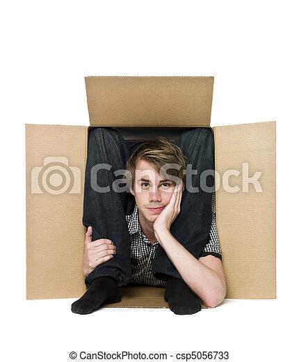 dentro, box., acrobata, papelão - csp5056733