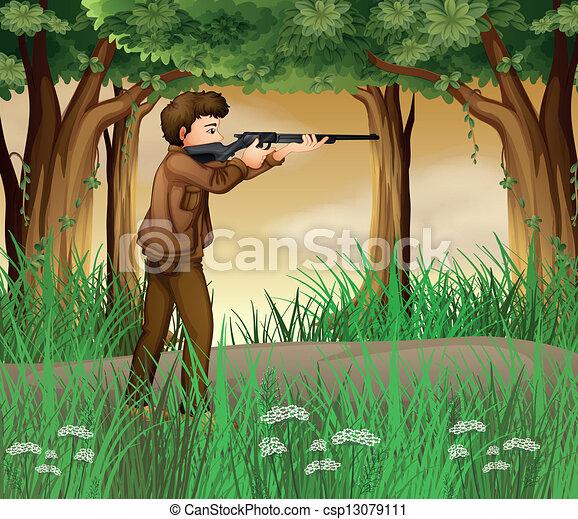 dentro, caçador, selva - csp13079111