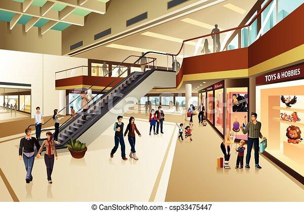Escena dentro del centro comercial - csp33475447