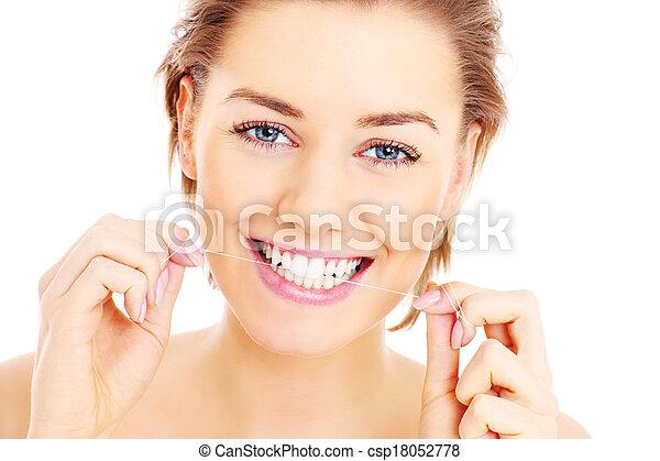 dents, flossing - csp18052778