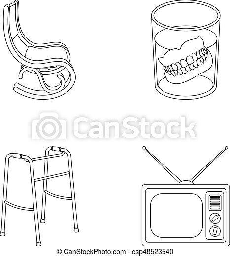 Denture Rocking Chair Walker Old Tvold Age Set Collection Icons In Outline Style Vector Symbol