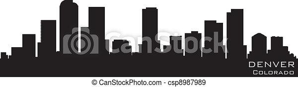 Denver, Colorado skyline. Detailed vector silhouette - csp8987989