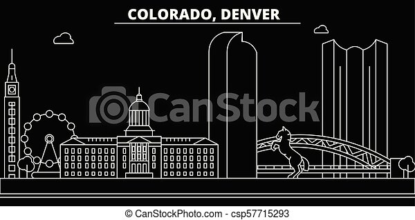 Denver silhouette skyline. USA - Denver vector city, american linear architecture, buildings. Denver travel illustration, outline landmarks. USA flat icon, american line banner - csp57715293