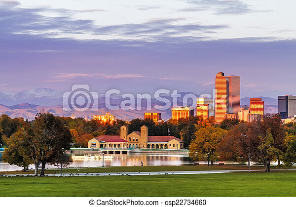 Denver Skyline in Fall from City Park - csp22734660