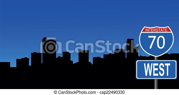 Denver skyline interstate sign - csp22490330