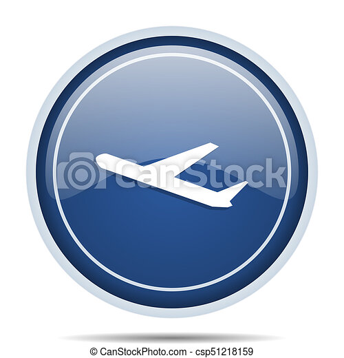 Deparures blue round web icon. Circle isolated internet button for webdesign and smartphone applications. - csp51218159