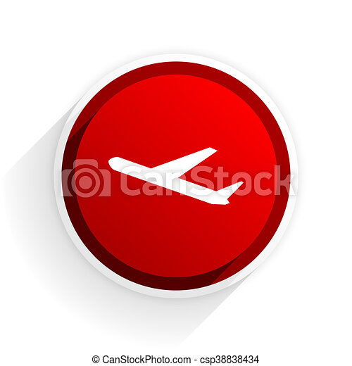 deparures flat icon with shadow on white background, red modern design web element - csp38838434