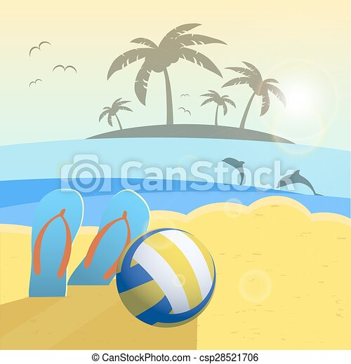 Depicted still life beach volleyball, ball, palms, sea. Vector background - csp28521706