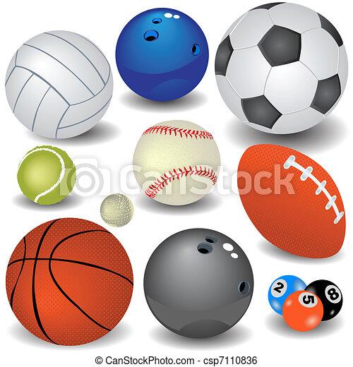 Deporte, pelotas. Diferente, pelotas, activities., coloreado, diez ...