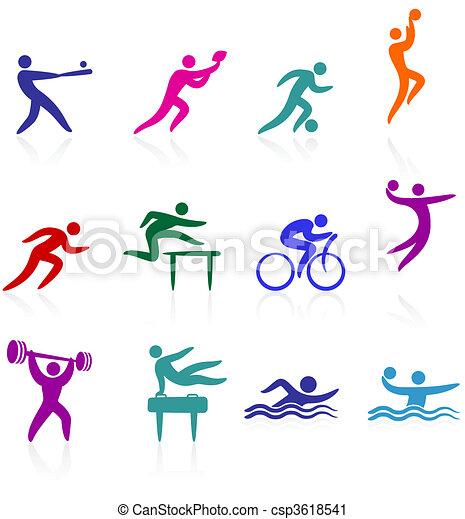 deportes, colección, icono - csp3618541
