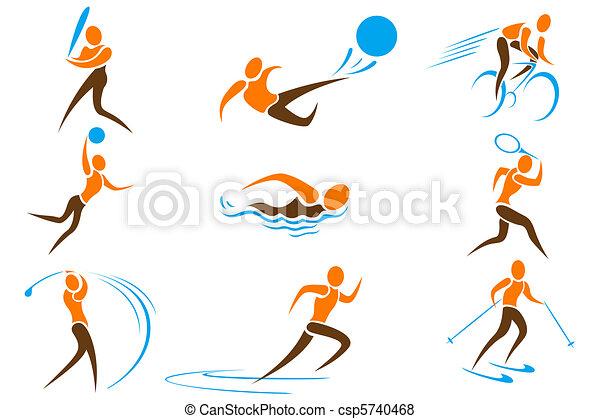 deportes, conjunto, icono - csp5740468